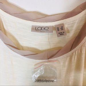 LOGO by Lori Goldstein Tops - LOGO Lori Goldstein Tunic Tank Ivory Embellished
